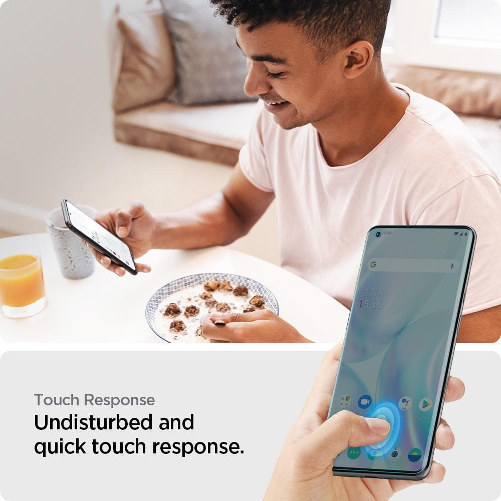 OnePlus 9 Pro Screen Protector Neo Flex showing its touch response. Undisturbed and quick touch response