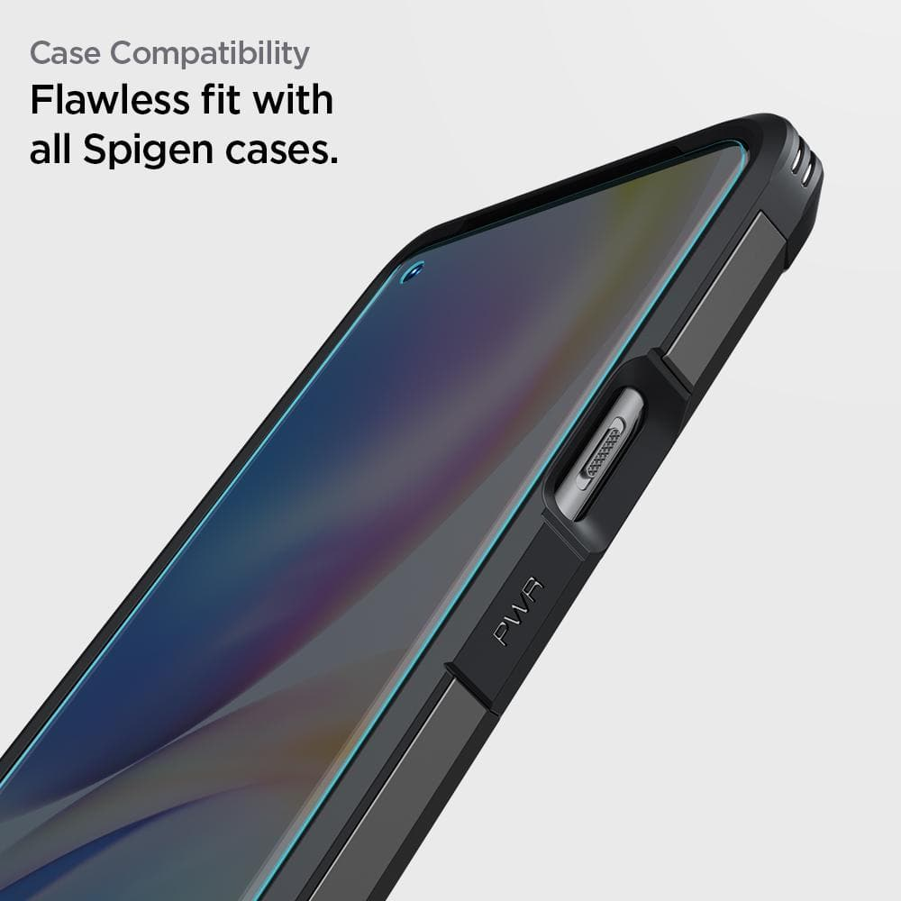 OnePlus 9 Pro Screen Protector Neo Flex showing its case compatibility. Flawless fit with all Spigen cases.
