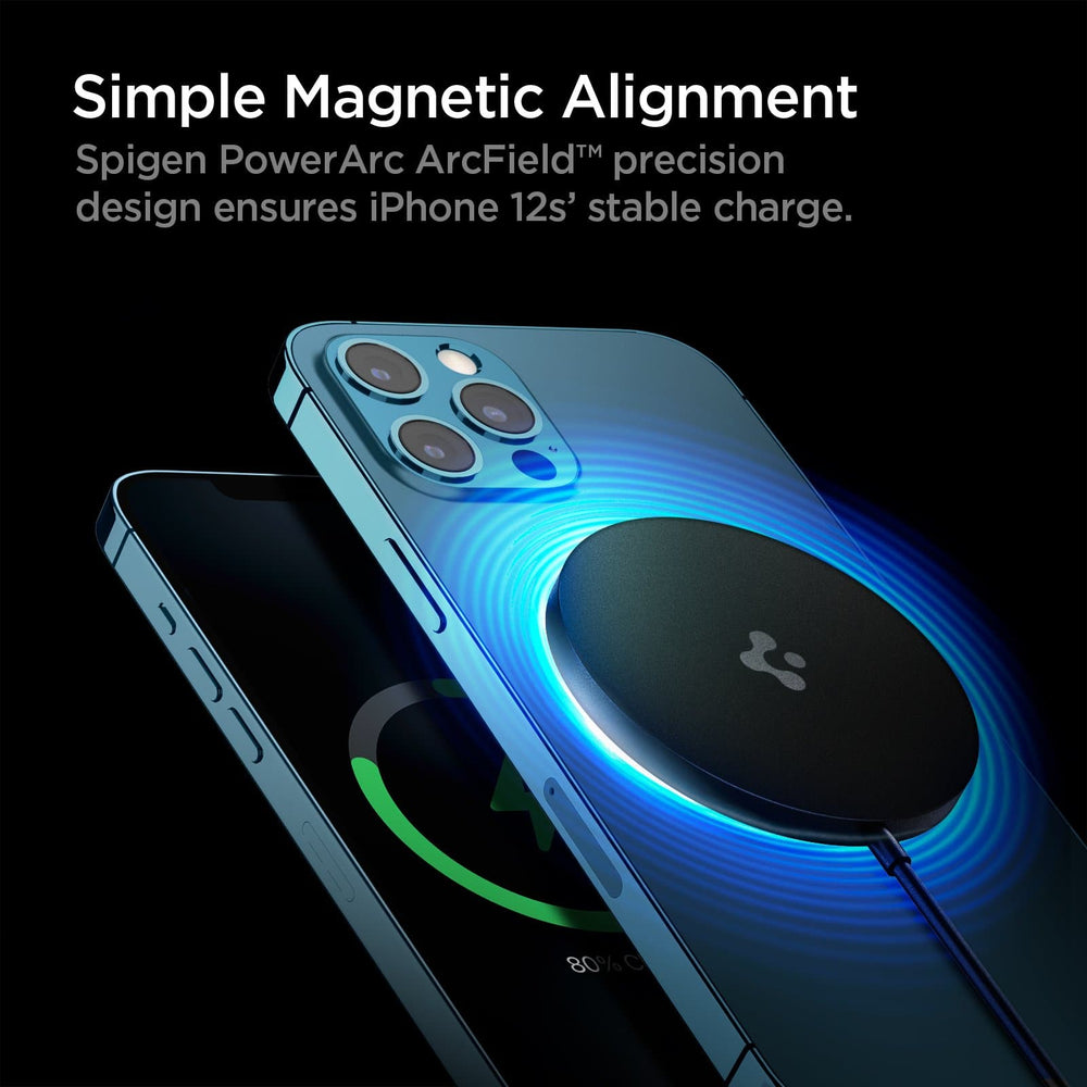 ArcField Charging Pad showing its simple magnetic alignment. Spigen PowerArc ArcField precision design ensures iPhone 12's stable charge.