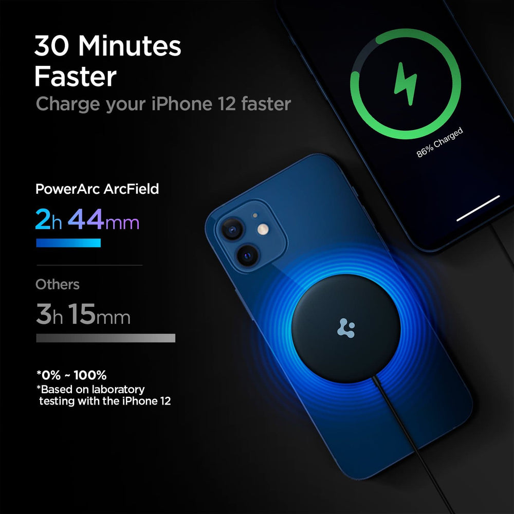 ArcField Charging Pad showing its charges 30 minutes faster. Based on laboratory testing with iPhone 12, PowerArc Arcfield charges 0%-100% in 2 hours 44 minutes while others charge in 3 hours 15 minutes