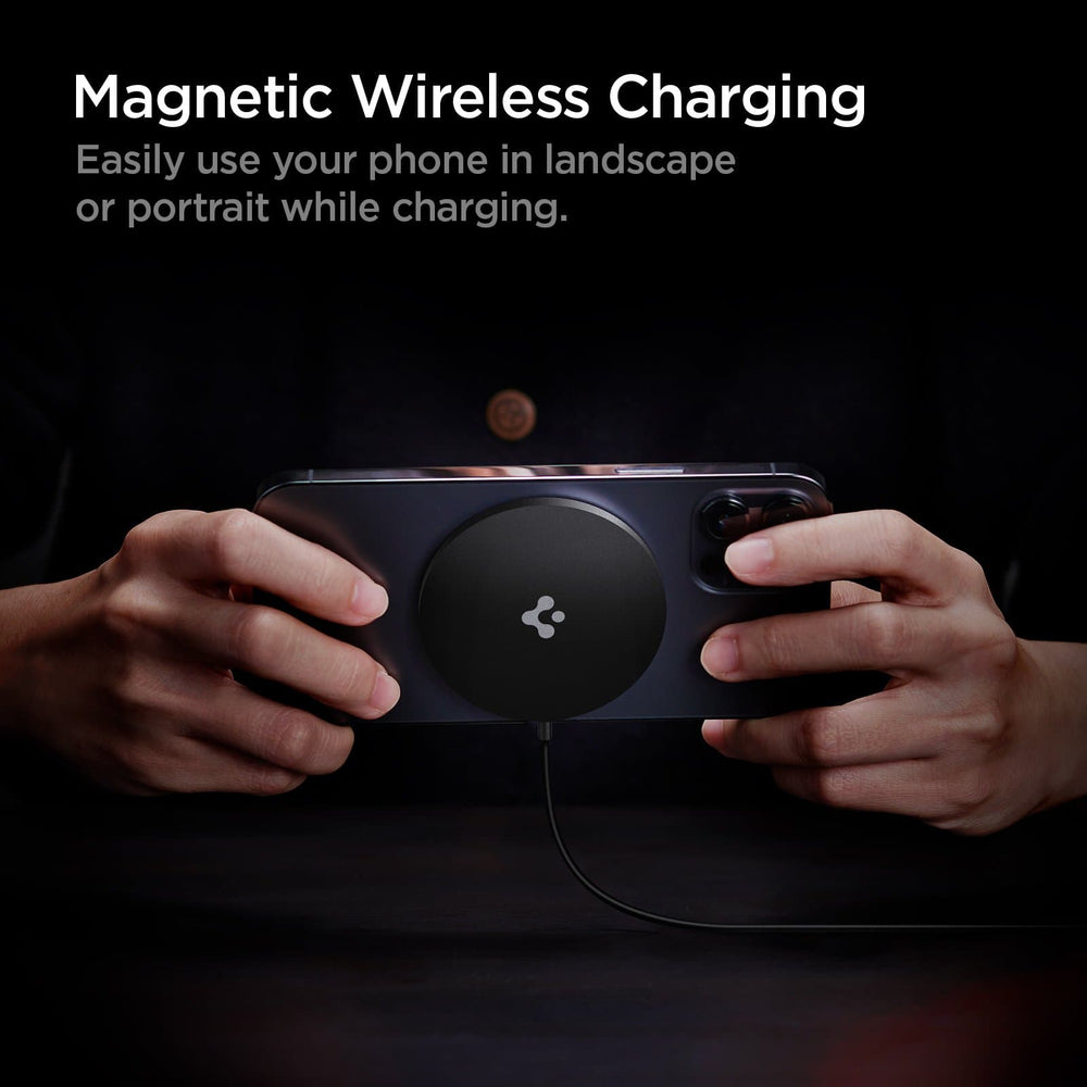 ArcField Charging Pad has magnetic wireless charging. Easily use your phone in landscape or portrait while charging