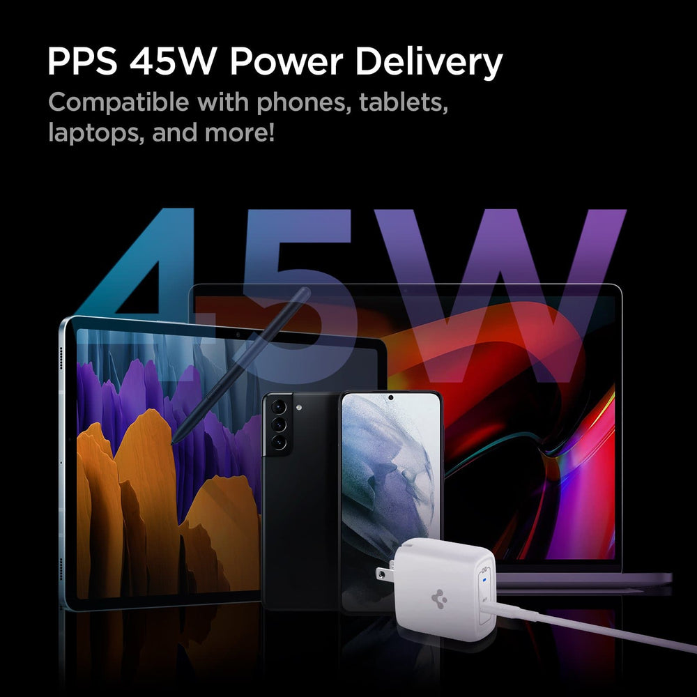 PowerArc 45W ArcStation Pro Wall Charger showing its PPS 45W Power delivery. Compatible with phones, tablets, laptops and more!