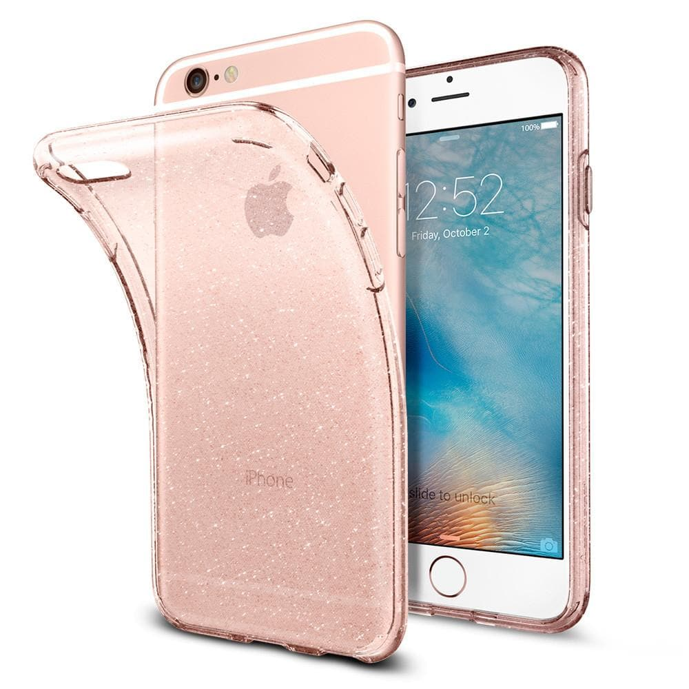 Liquid Crystal Glitter	Rose Crystal	Case	back design and a front view of the edge around the	iPhone 6s	device.