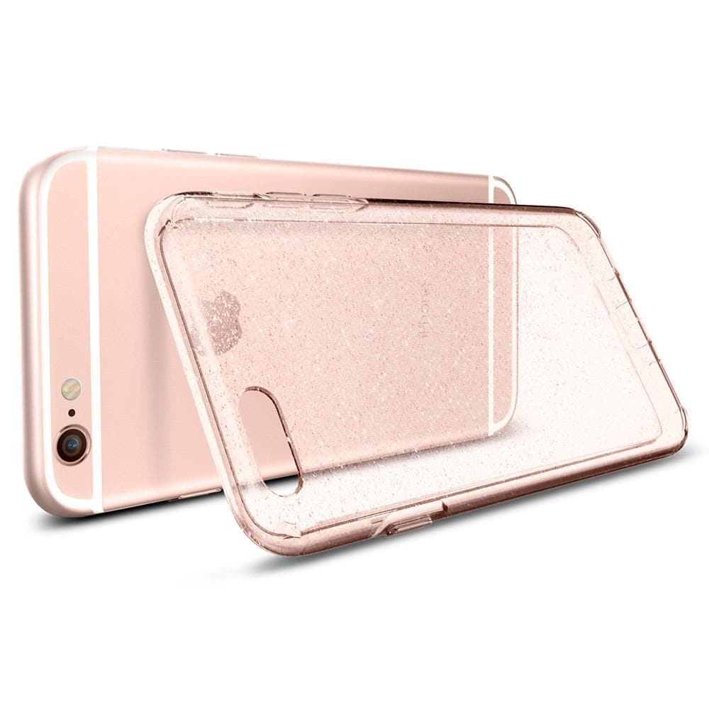 Liquid Crystal Glitter	Rose Crystal	Case	back design and a back view of the	iPhone 6s	device.