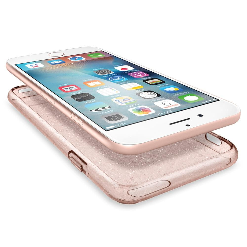 Liquid Crystal Glitter	Rose Crystal	Case	separated showing the TPU layer and the	iPhone 6s	device.