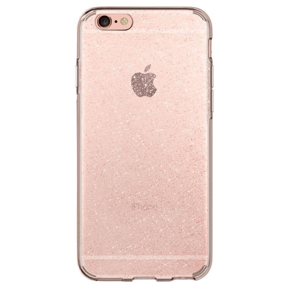 Liquid Crystal Glitter	Rose Crystal	Case	facing backwards showing the back design with the camera cutout on the	iPhone 6s	device.