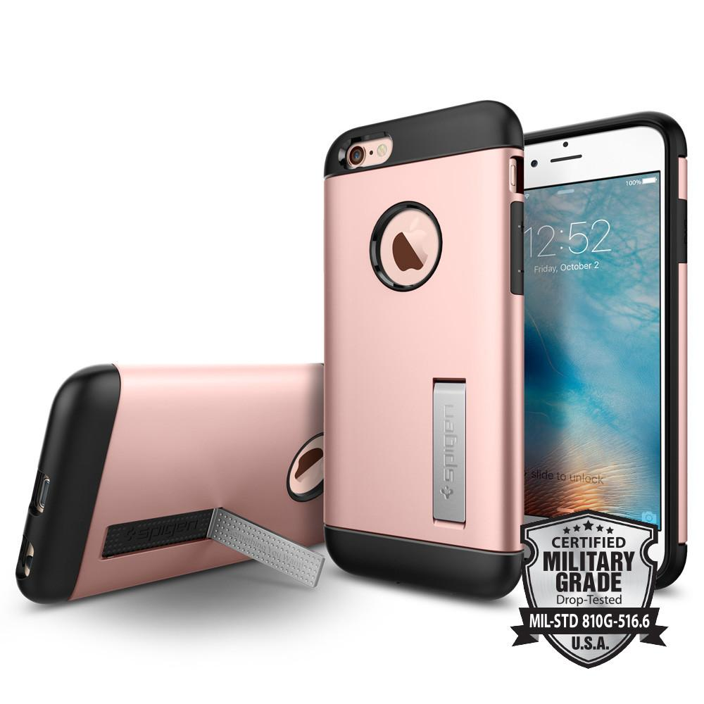 Slim Armor 	Rose Gold	back design and a front view of the edge around the	iPhone 6S	device.