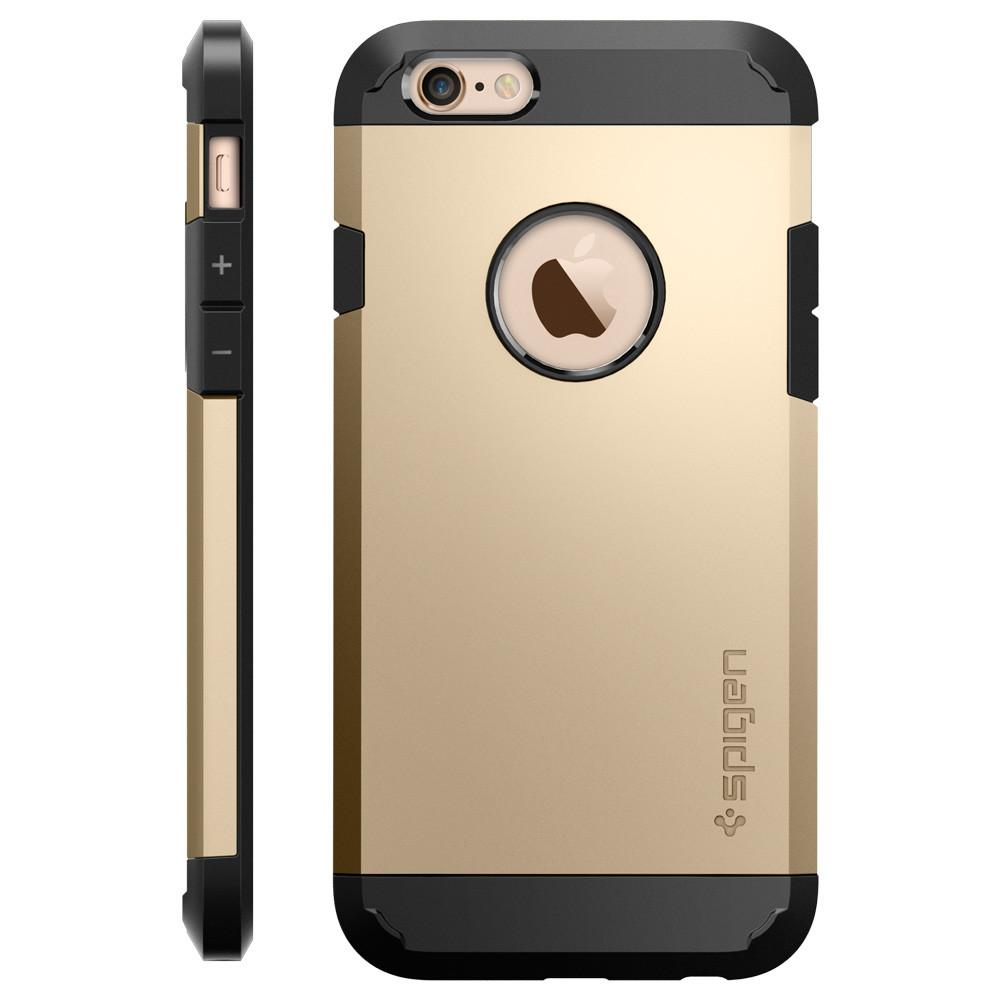 Tough Armor Champagne Gold facing backwards showing the back design with the camera cutout on the	iPhone 6S / 6	device and side view showing the volume buttons.