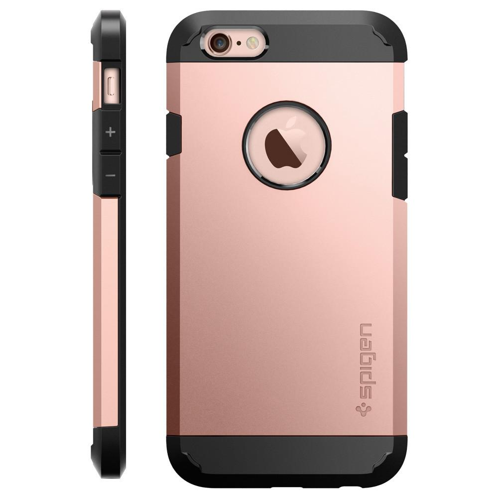 Tough Armor Rose Gold facing backwards showing the back design with the camera cutout on the	iPhone 6S / 6	device and side view showing the volume buttons.