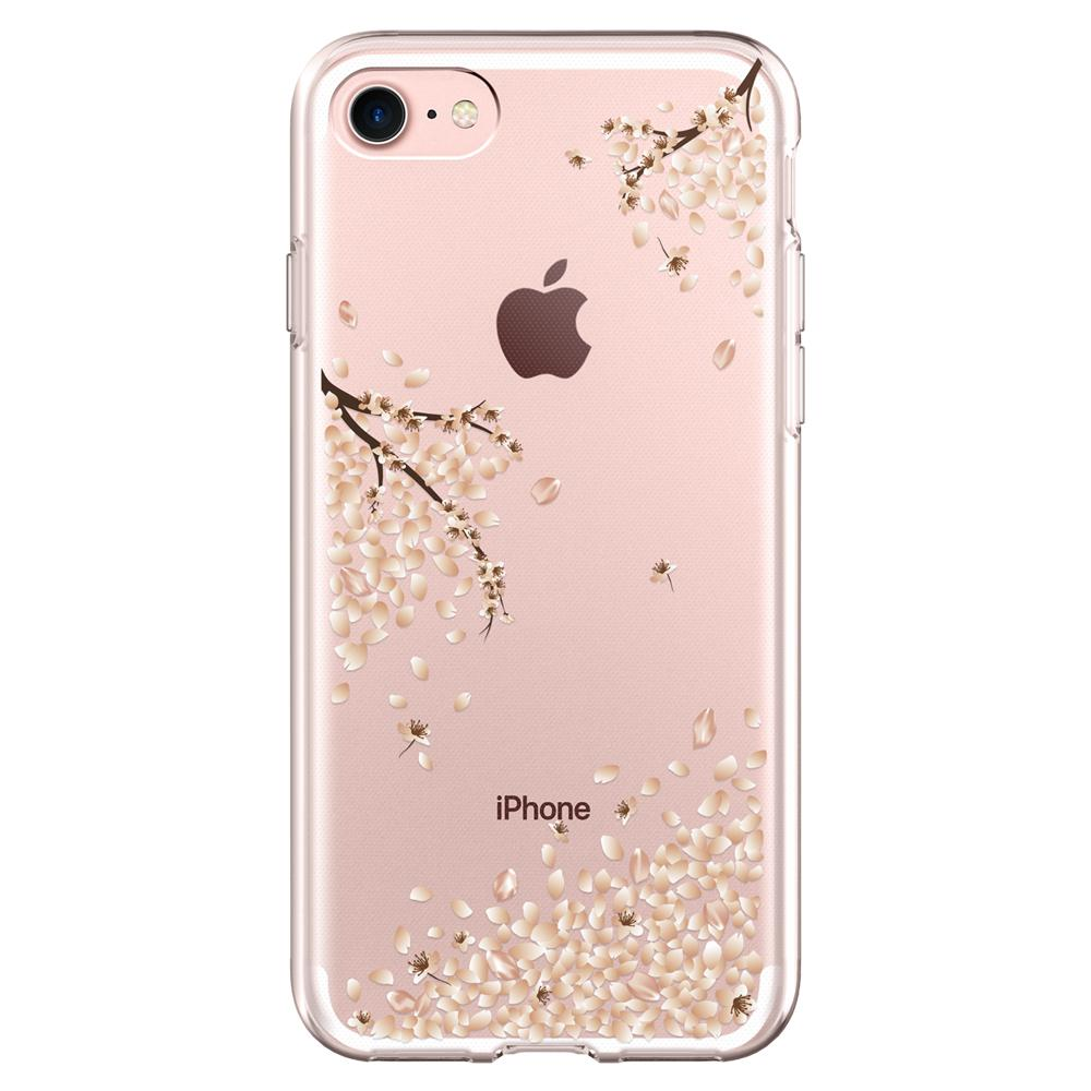 Liquid Crystal Blossom	Crystal Clear	Case	facing backwards showing the back design with the camera cutout on the	iPhone 7	device.