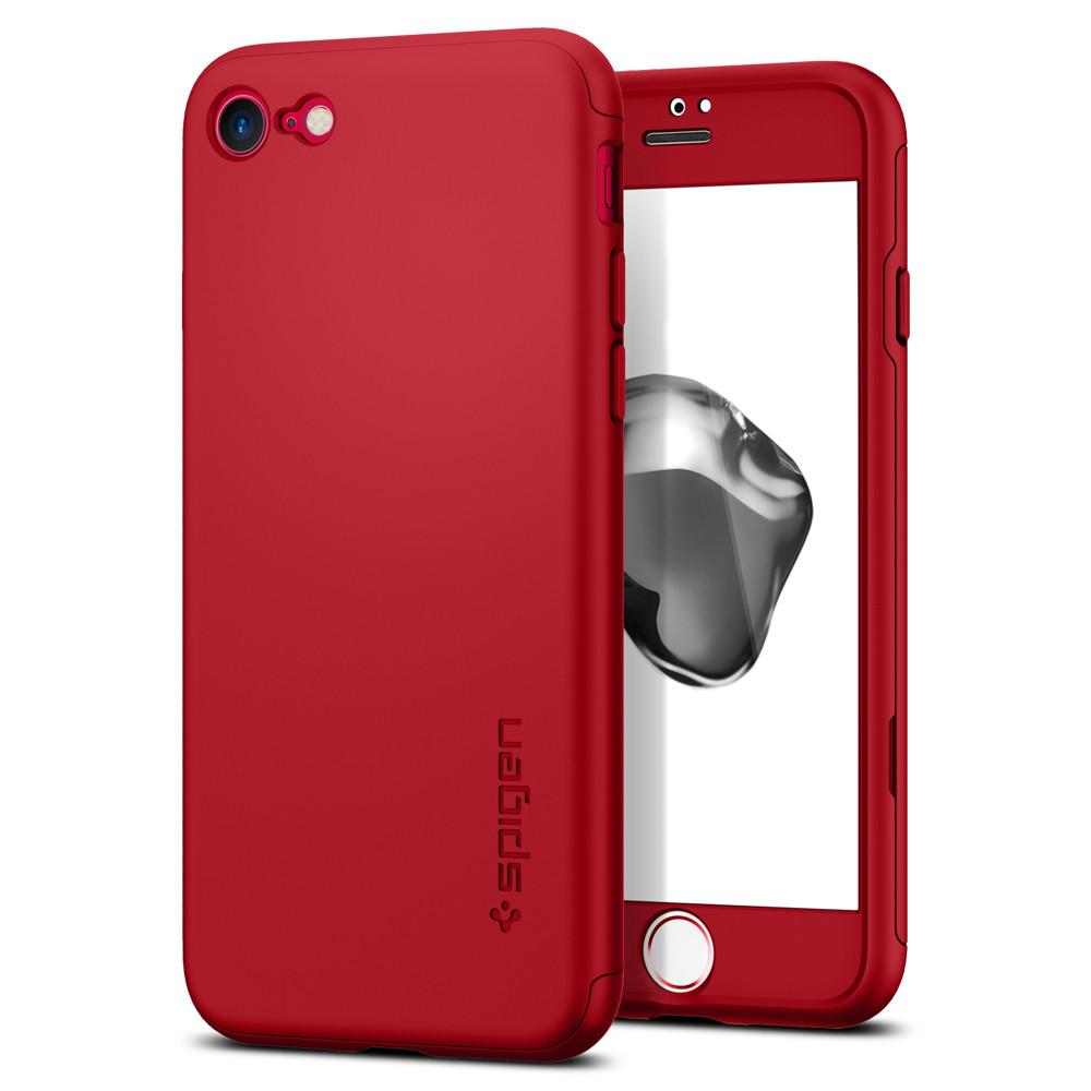 Thin Fit 360	Red Case	back design and a front view of the edge around the	iPhone 7	device.