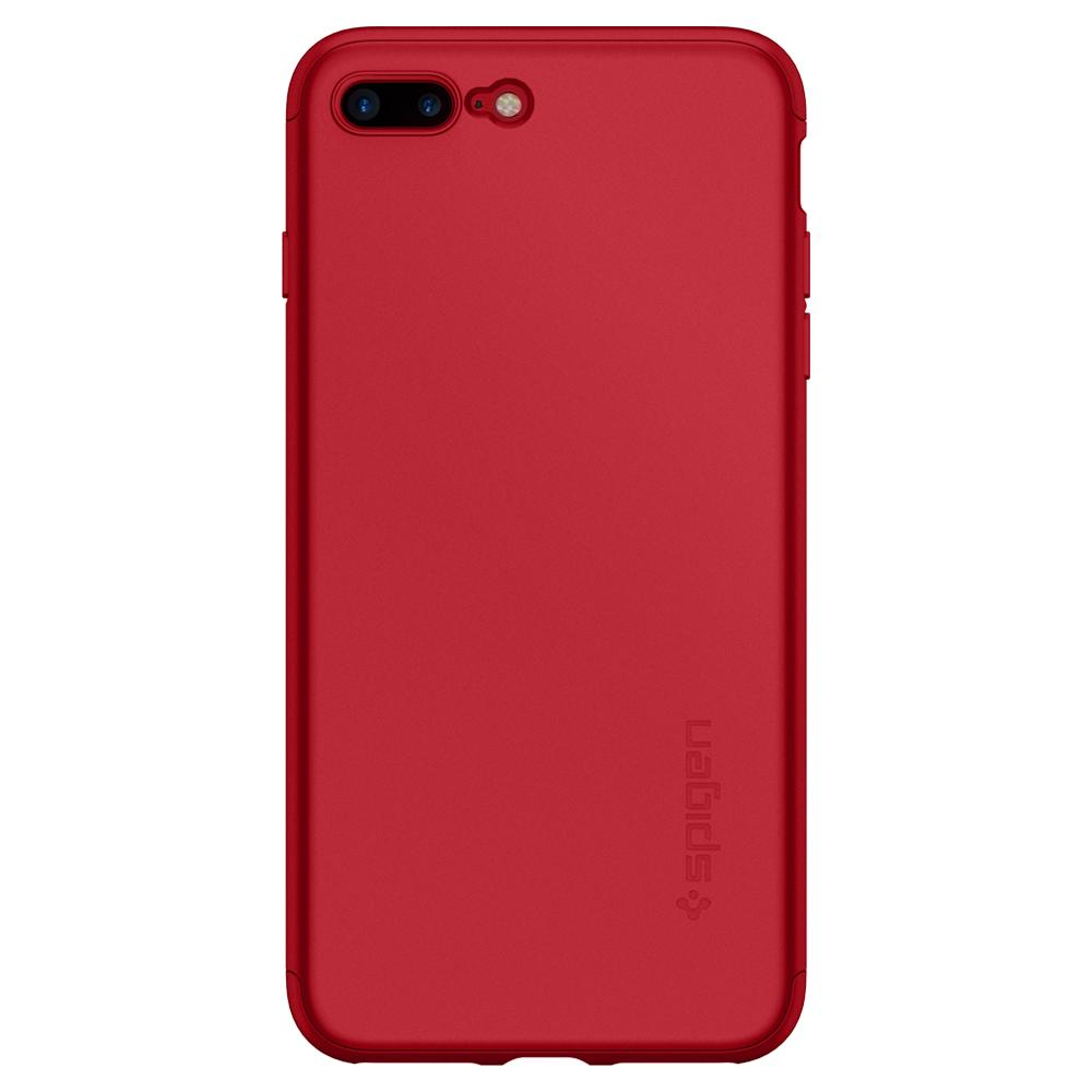 Thin Fit 360	Red Case	facing backwards showing the back design with the camera cutout on the	iPhone 7 Plus	device.