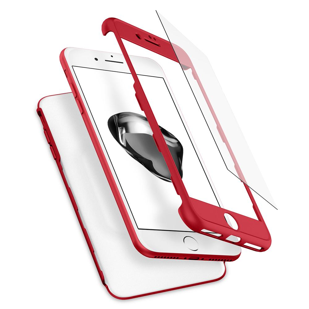 Thin Fit 360	Red Case	separated showing the outer PC layer, screen protector and the	iPhone 7 Plus	device.