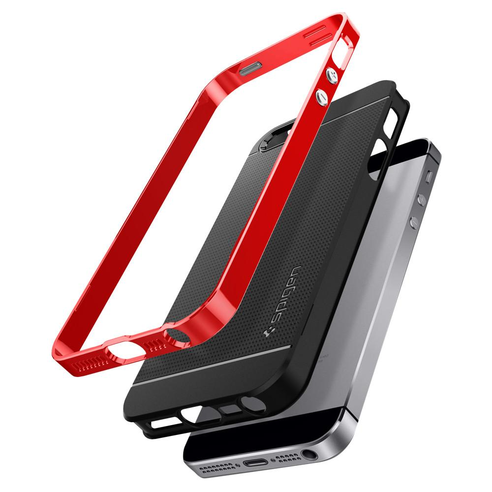 Neo Hybrid	Dante Red	Case	separated showing the outer PC layer, the inner TPU layer and the	iPhone SE	device.