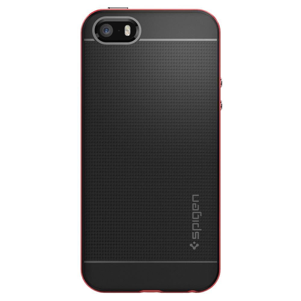 Neo Hybrid	Dante Red	Case	facing backwards showing the back design with the camera cutout on the	iPhone SE	device.