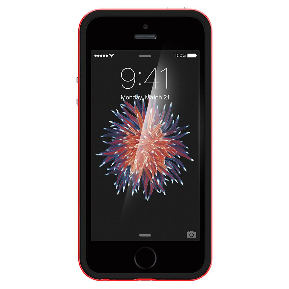 Neo Hybrid	Dante Red	Case	showing a front facing view of the edges around the	iPhone SE	device.