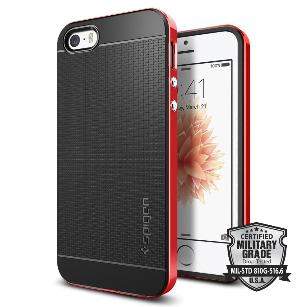 Neo Hybrid	Dante Red	Case	back design and a front view of the edge around the	iPhone SE	device.