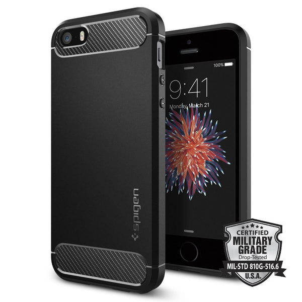 new style 274ae f8f2a iPhone SE Case Rugged Armor - Black / In Stock