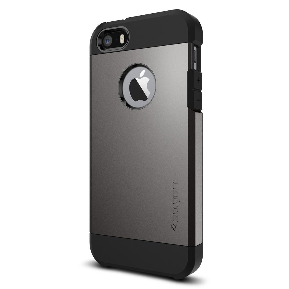 Tough Armor	Gunmetal 	Case	facing backwards showing the back design with the camera cutout on the	iPhone SE	device.