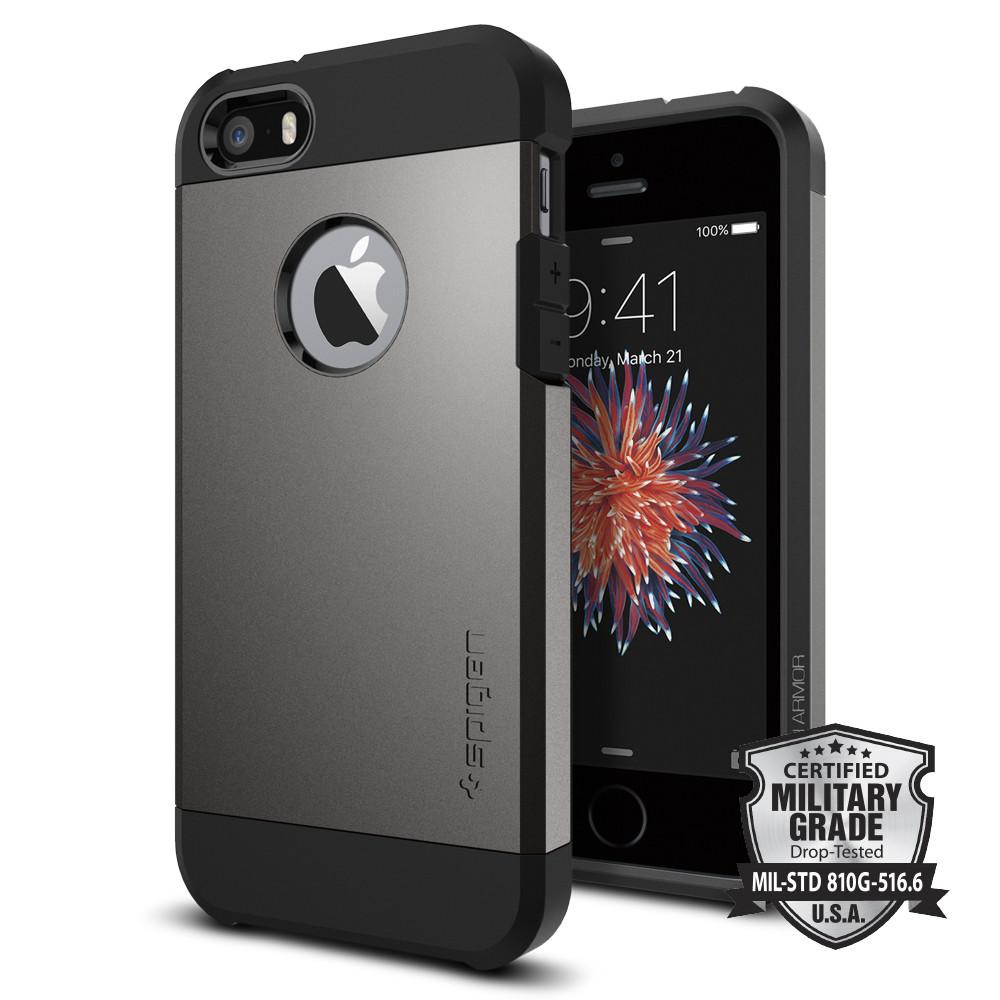 Tough Armor	Gunmetal 	Case	back design and a front view of the edge around the	iPhone SE	device.