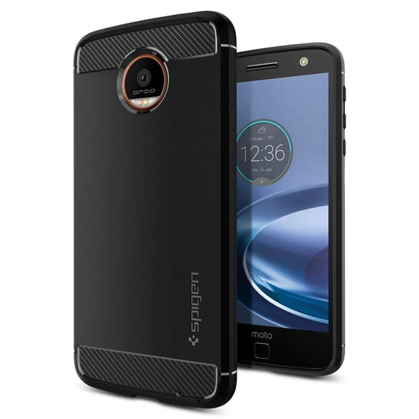 lowest price 34d3d 3c222 Moto Z Force Droid Case Rugged Armor - Black / In Stock