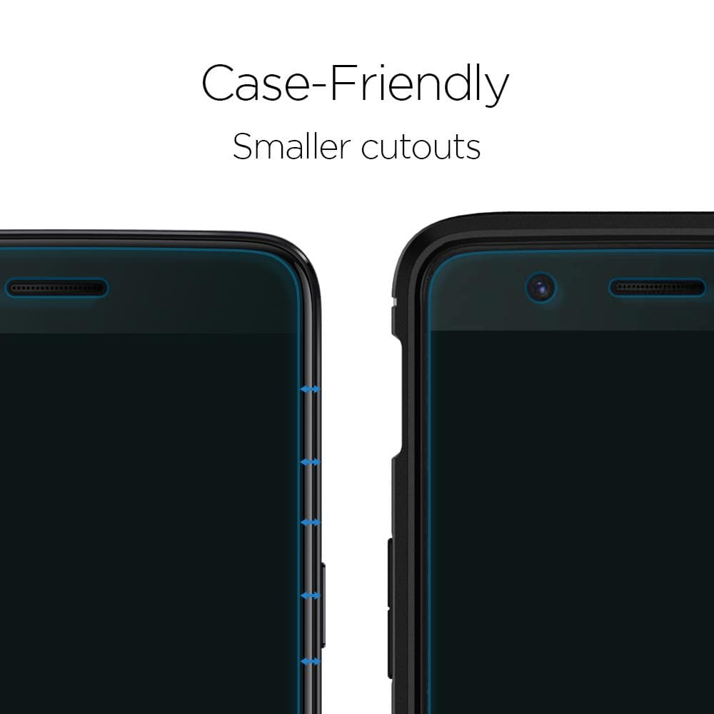 OnePlus 5 Screen Protector Neo Flex showing the case friendly smaller cutouts