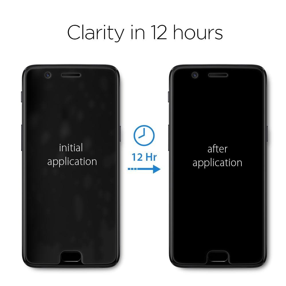 OnePlus 5 Screen Protector Neo Flex showing the clarity within 12 hours of application