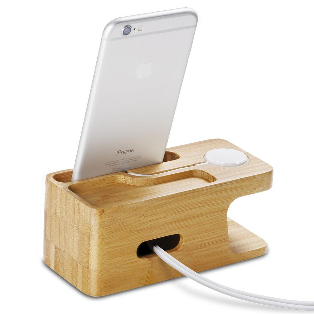 Apple Watch + Phone Stand S370 showing the back and side with phone charging