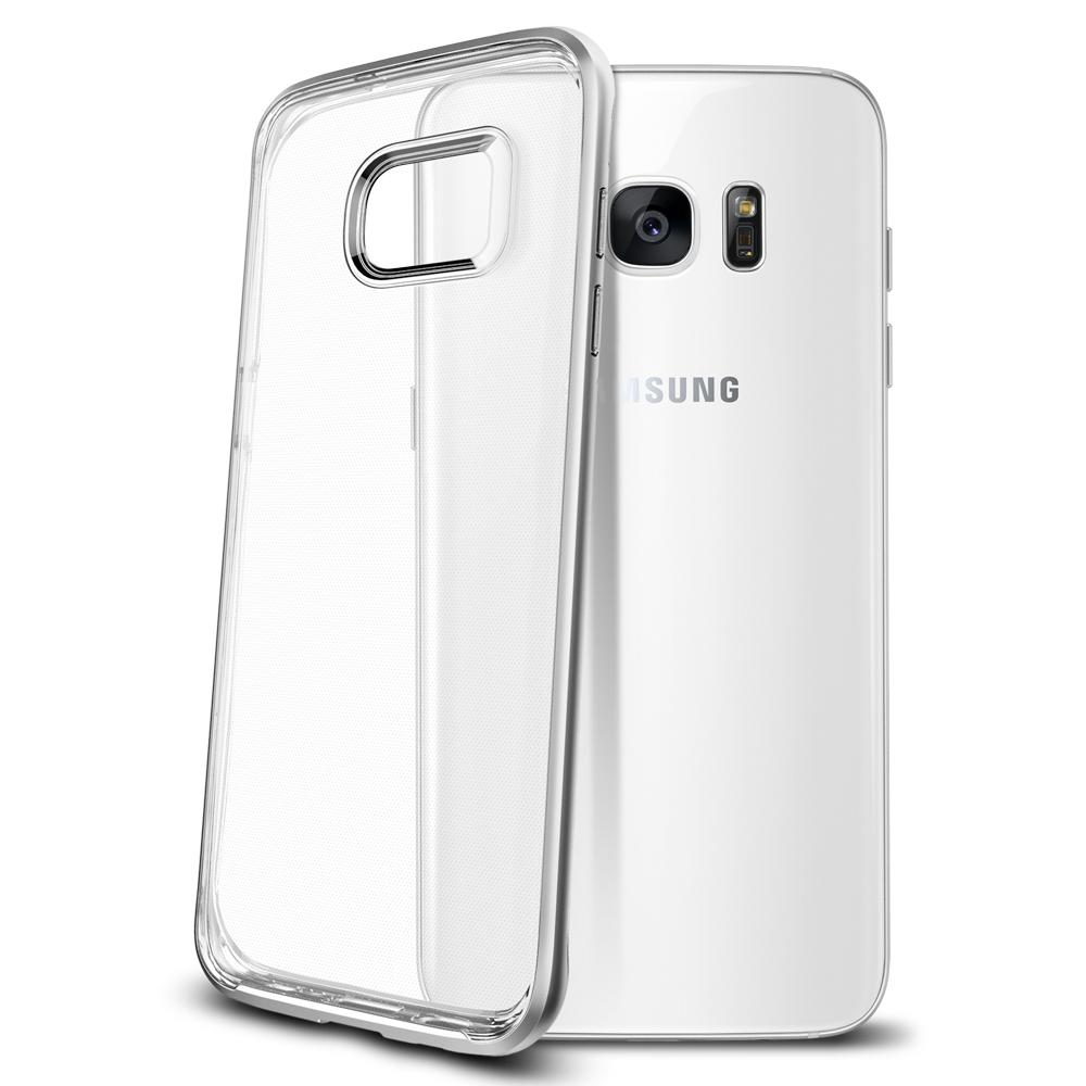 Galaxy S7 Edge Case Neo Hybrid Crystal in satin silver showing the back and side edge
