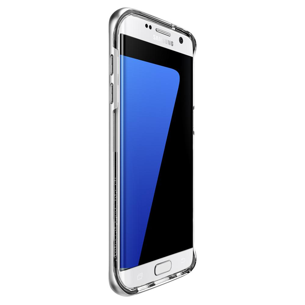 Galaxy S7 Edge Case Neo Hybrid Crystal in satin silver showing the front and side