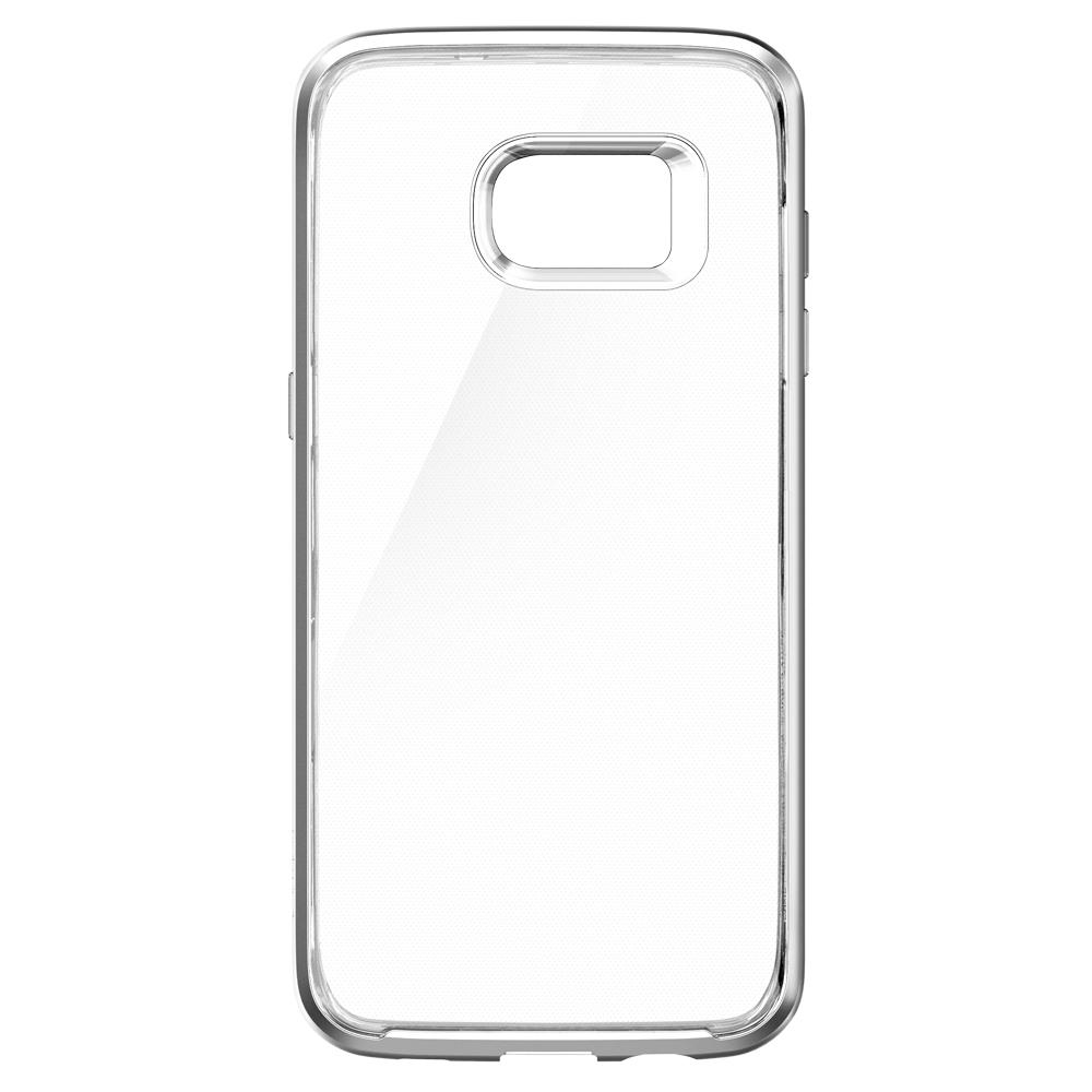 Galaxy S7 Edge Case Neo Hybrid Crystal in satin silver showing the back without device in case