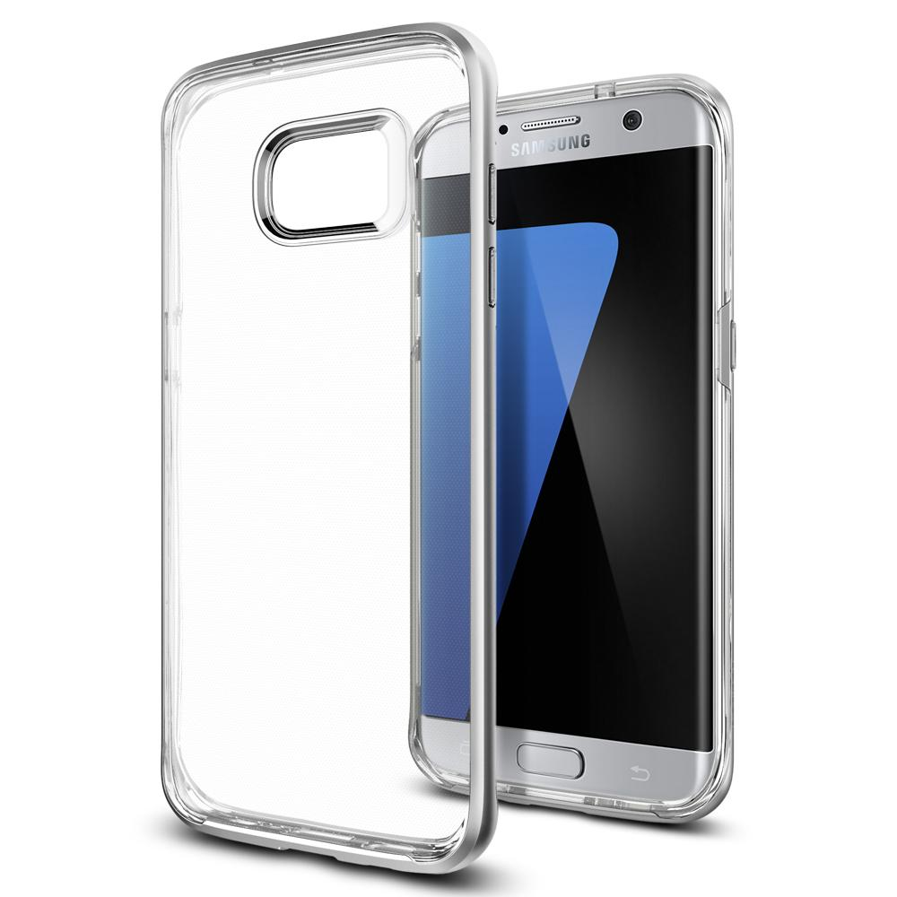 Galaxy S7 Edge Case Neo Hybrid Crystal in satin silver showing the back and front