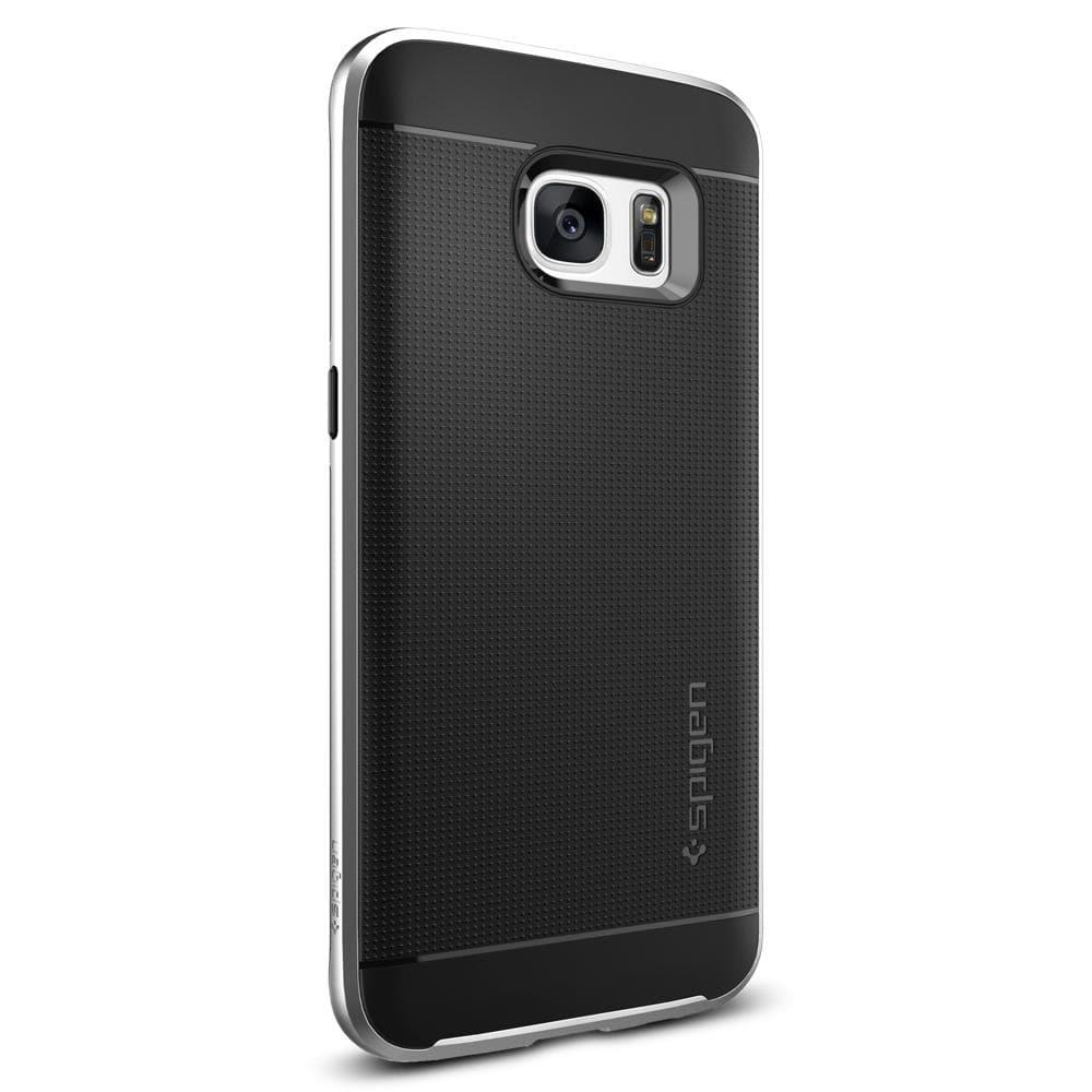 Neo Hybrid	Satin Silver	Case	facing backwards showing the back design with the camera cutout on the	Galaxy S7 Edge	device.