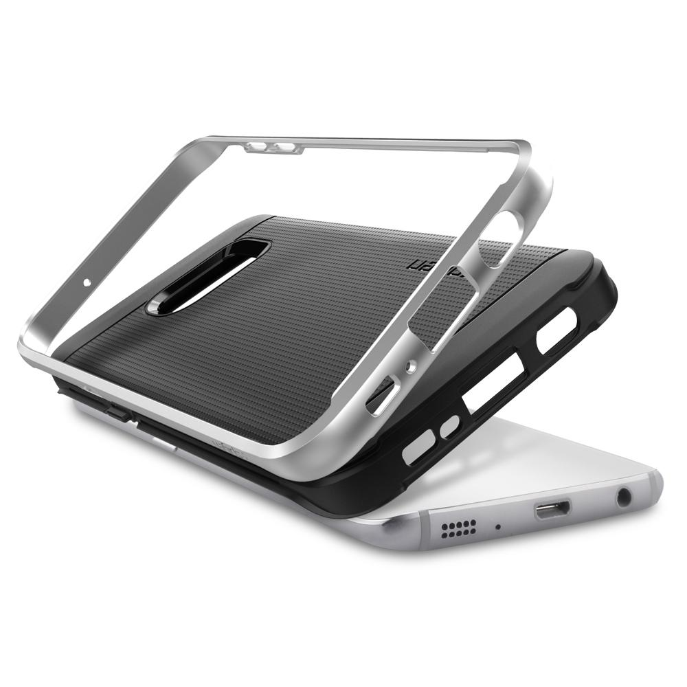 Neo Hybrid	Satin Silver	Case	separated showing the outer PC layer, the inner TPU layer, and the	Galaxy S7 Edge	device.