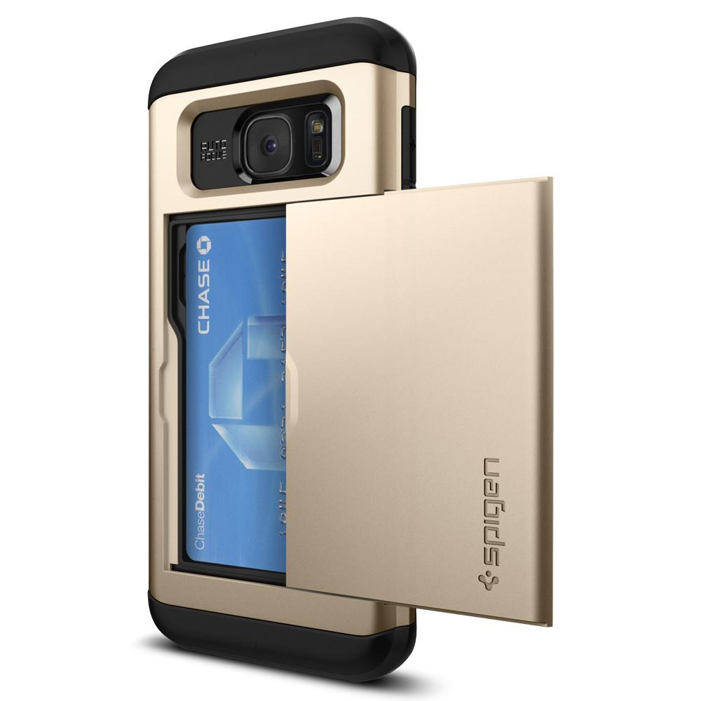 Slim Armor CS	Champagne Gold	Case	facing backwards showing the back design with the camera cutout on the	Galaxy S7 Edge	device.