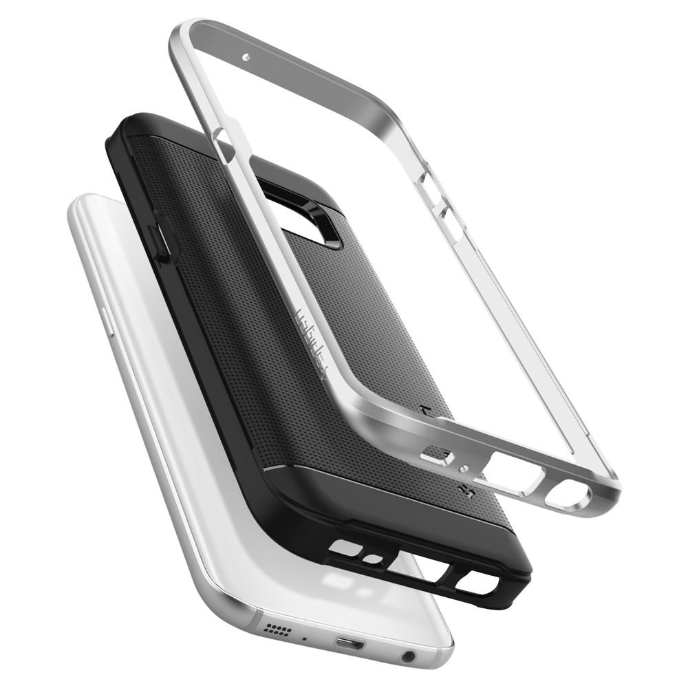Neo Hybrid	Satin Silver	Case	separated showing the outer PC layer, the inner TPU layer, and the	Galaxy S7	device.