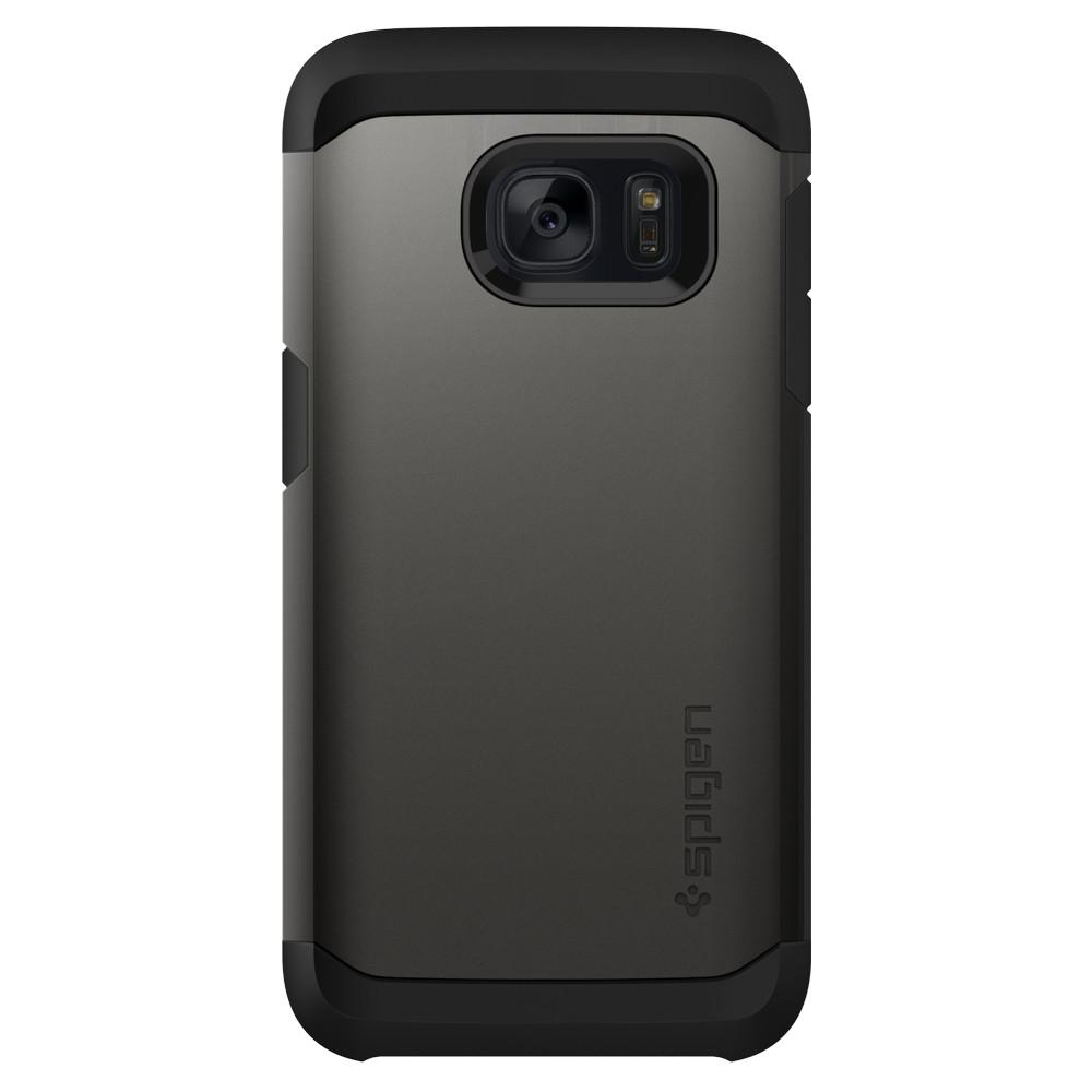 Tough Armor	Gunmetal	Case	facing backwards showing the back design with the camera cutout on the	Galaxy S7	device.