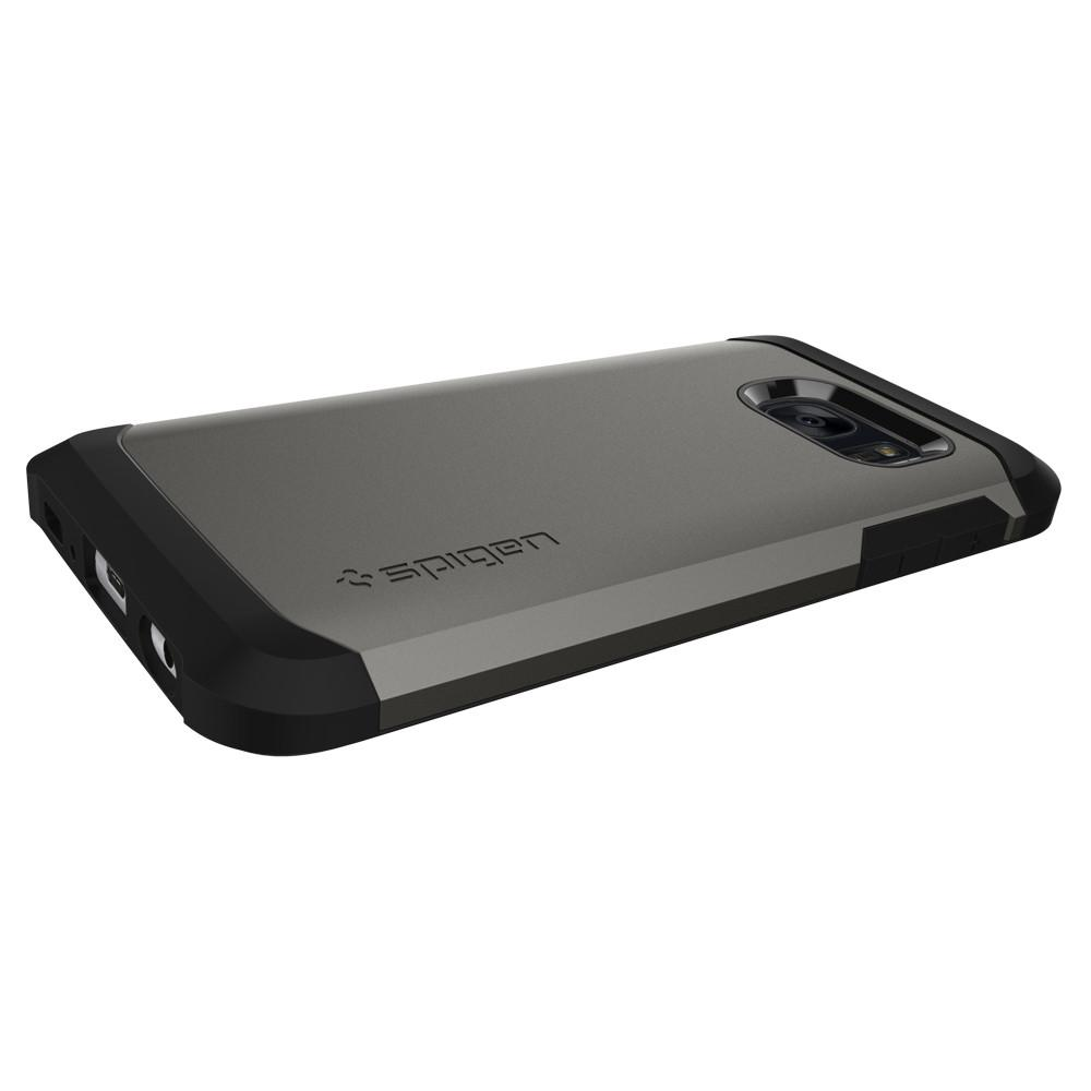 Tough Armor	Gunmetal	Case	showing the back design on the	Galaxy S7	device.