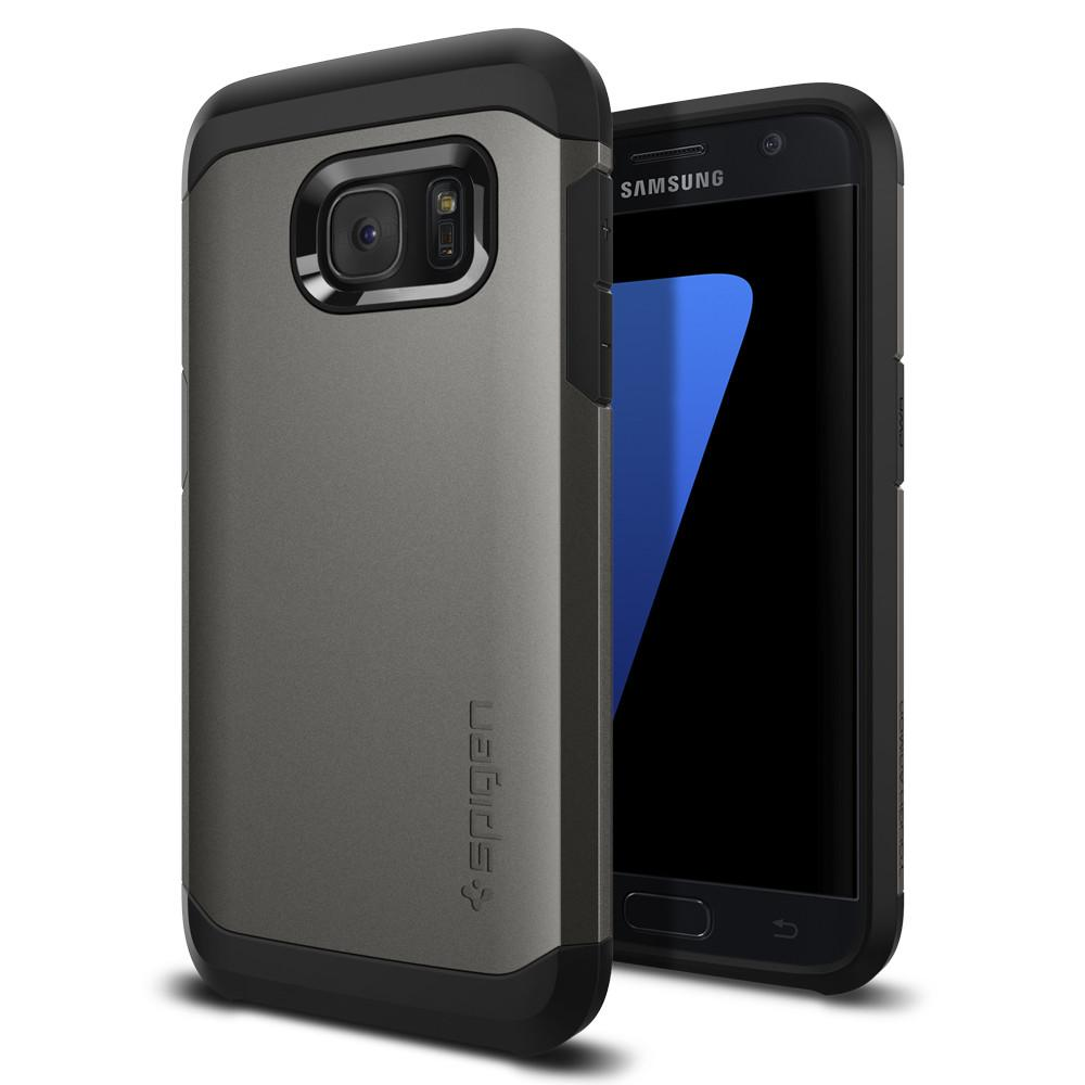 Tough Armor	Gunmetal	Case	back design and a front view of the edge around the	Galaxy S7	device.