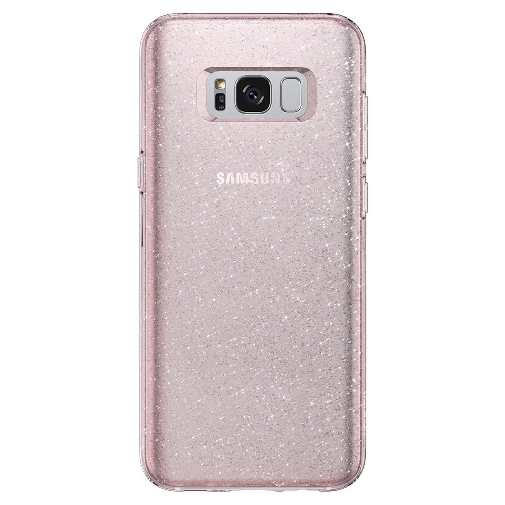 Liquid Crystal Glitter	Rose Quartz	Case	facing backwards showing the back design with the camera cutout on the	Galaxy S8+	device.