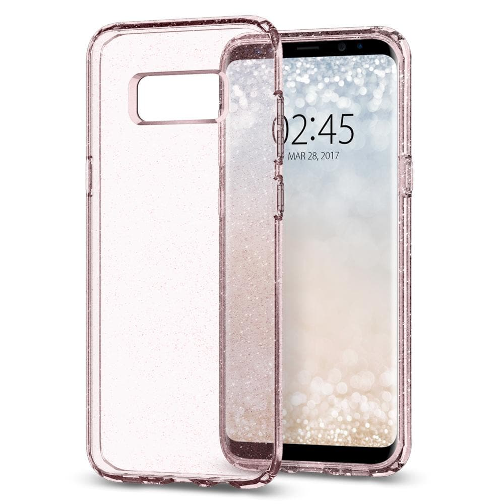 Liquid Crystal Glitter	Rose Quartz	Case	back design and a front view of the edge around the	Galaxy S8+	device.