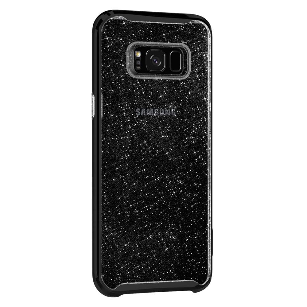 Neo Hybrid Crystal Glitter	Space Quartz	Case	facing backwards showing the back design with the camera cutout on the	Galaxy S8	device.