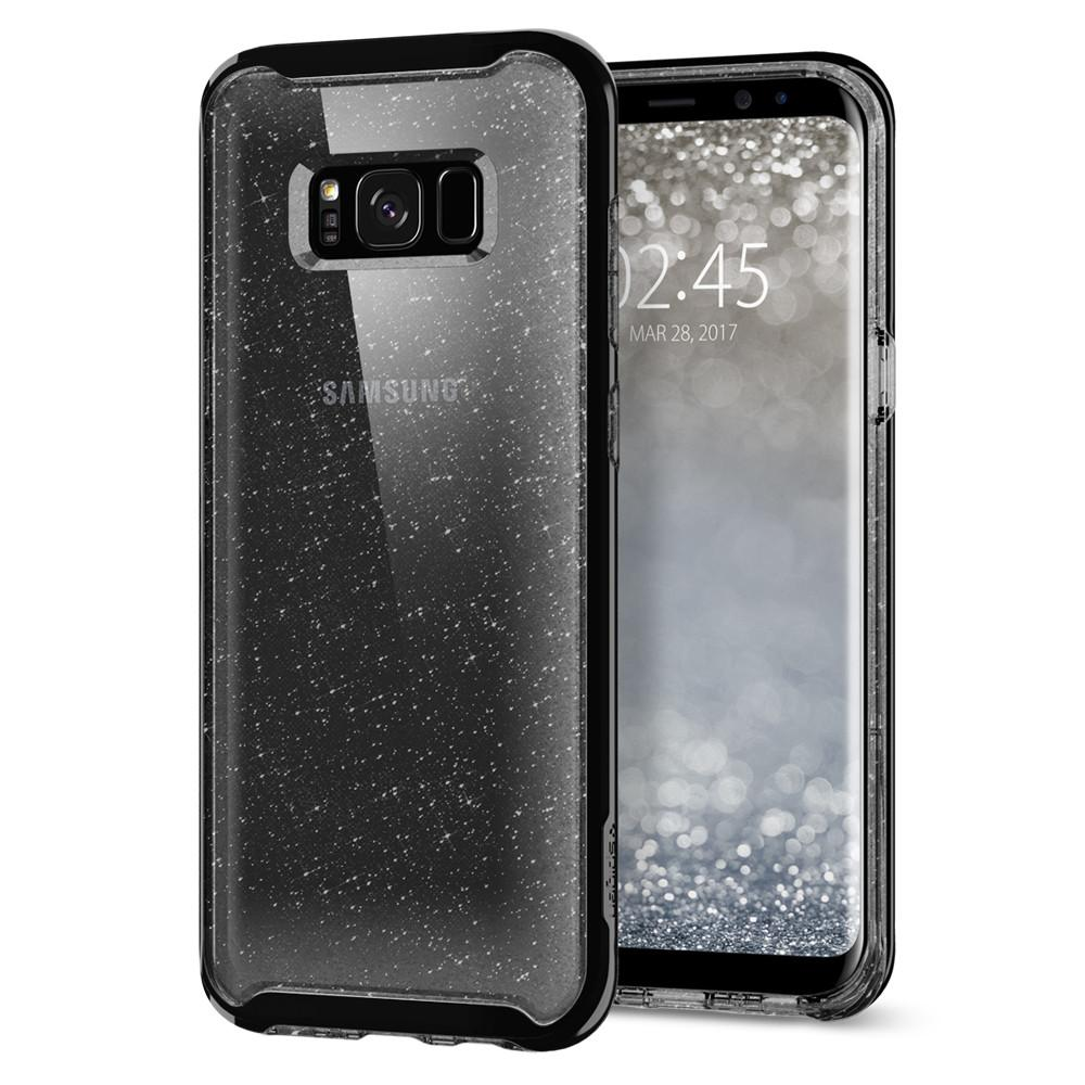 Neo Hybrid Crystal Glitter	Space Quartz	Case	back design and a front view of the edge around the	Galaxy S8	device.