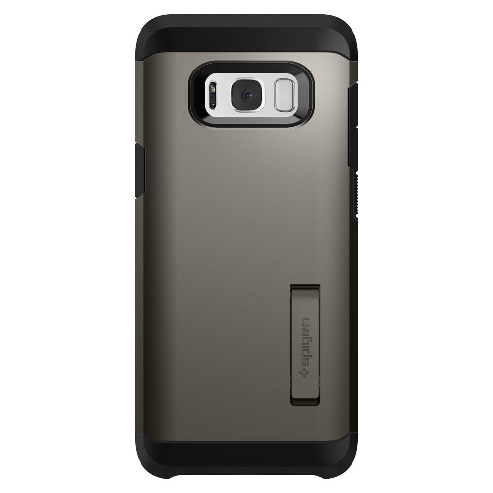 Tough Armor	Gunmetal	Case	facing backwards showing the back design with the camera cutout on the	Galaxy S8	device.