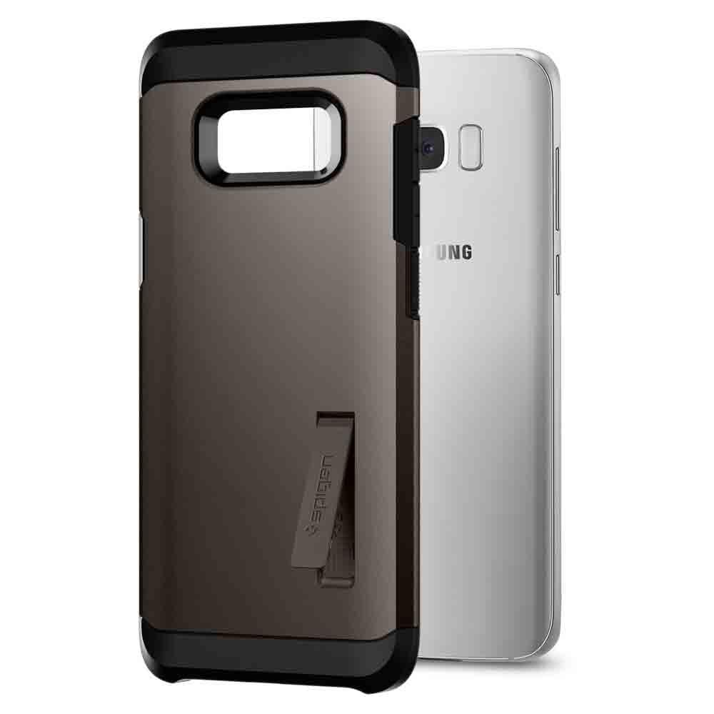 Tough Armor	Gunmetal	Case	attached and bending away from the	Galaxy S8	device.