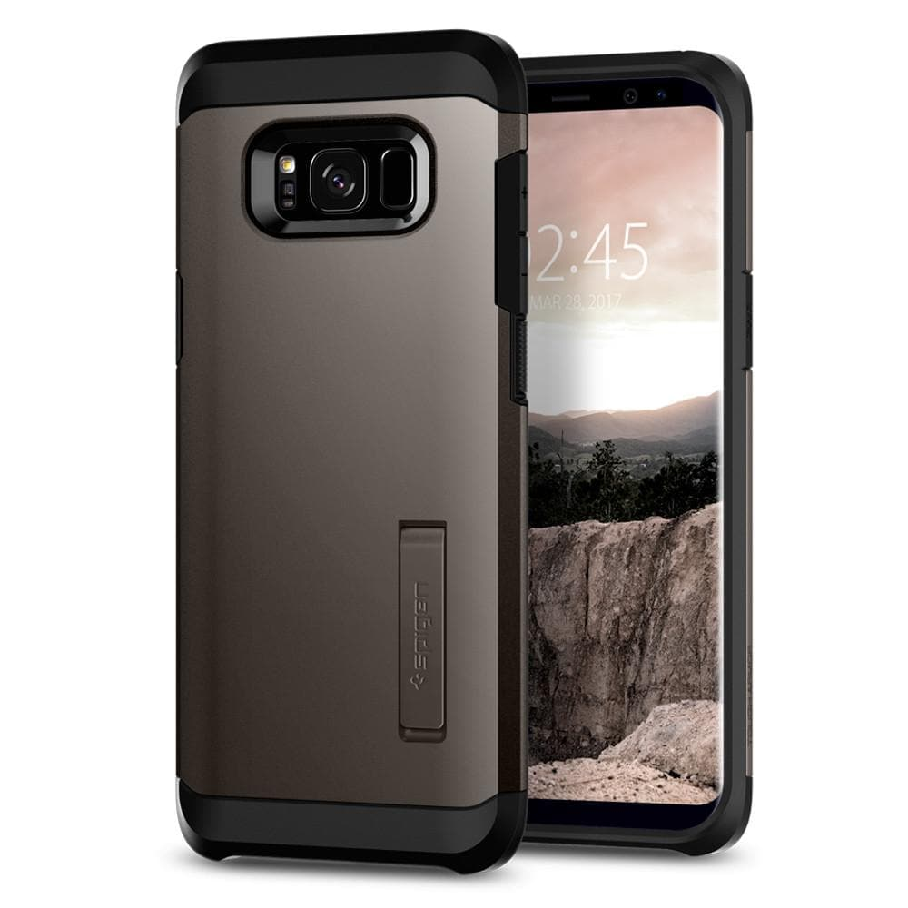 Tough Armor	Gunmetal	Case	back design and a front view of the edge around the	Galaxy S8	device.