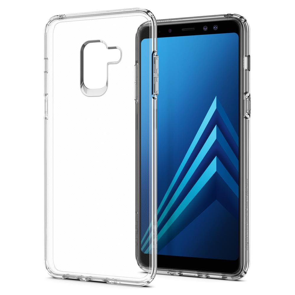 Liquid Crystal	Crystal Clear	Case	back design and a back view of the	Galaxy A8 (2018)	device.