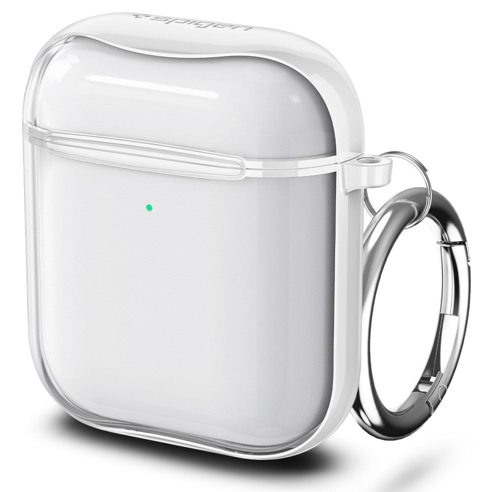 Apple AirPods Case Ultra Hybrid in white showing the front and side with keychain