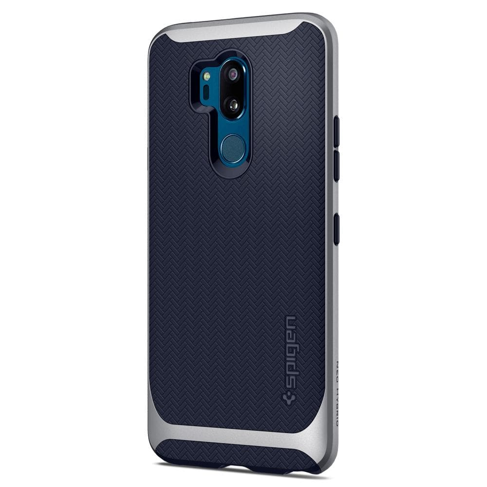 Neo Hybrid	Satin Silver Case	facing backwards showing the back design with the camera cutout on the	G7 ThinQ	device.