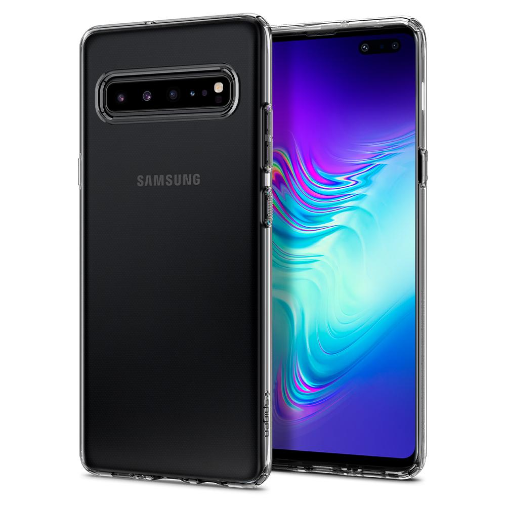 Liquid Crystal	Crystal Clear	Case	back design and a front view of the edge around the	Galaxy S10 5G	device.